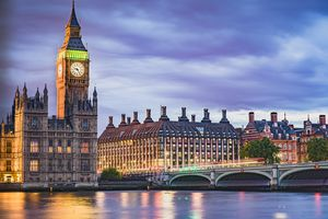 A beautiful scenery of Westminster bridge, part of the Houses of Parliament and Big Ben
