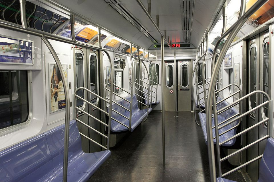 Empty Subway car in NYC