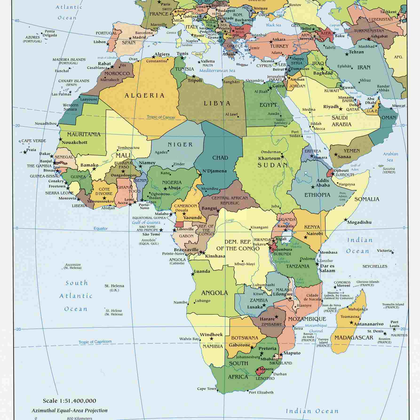 Accurate Map Of Africa Various Maps Showing How Big Africa Is