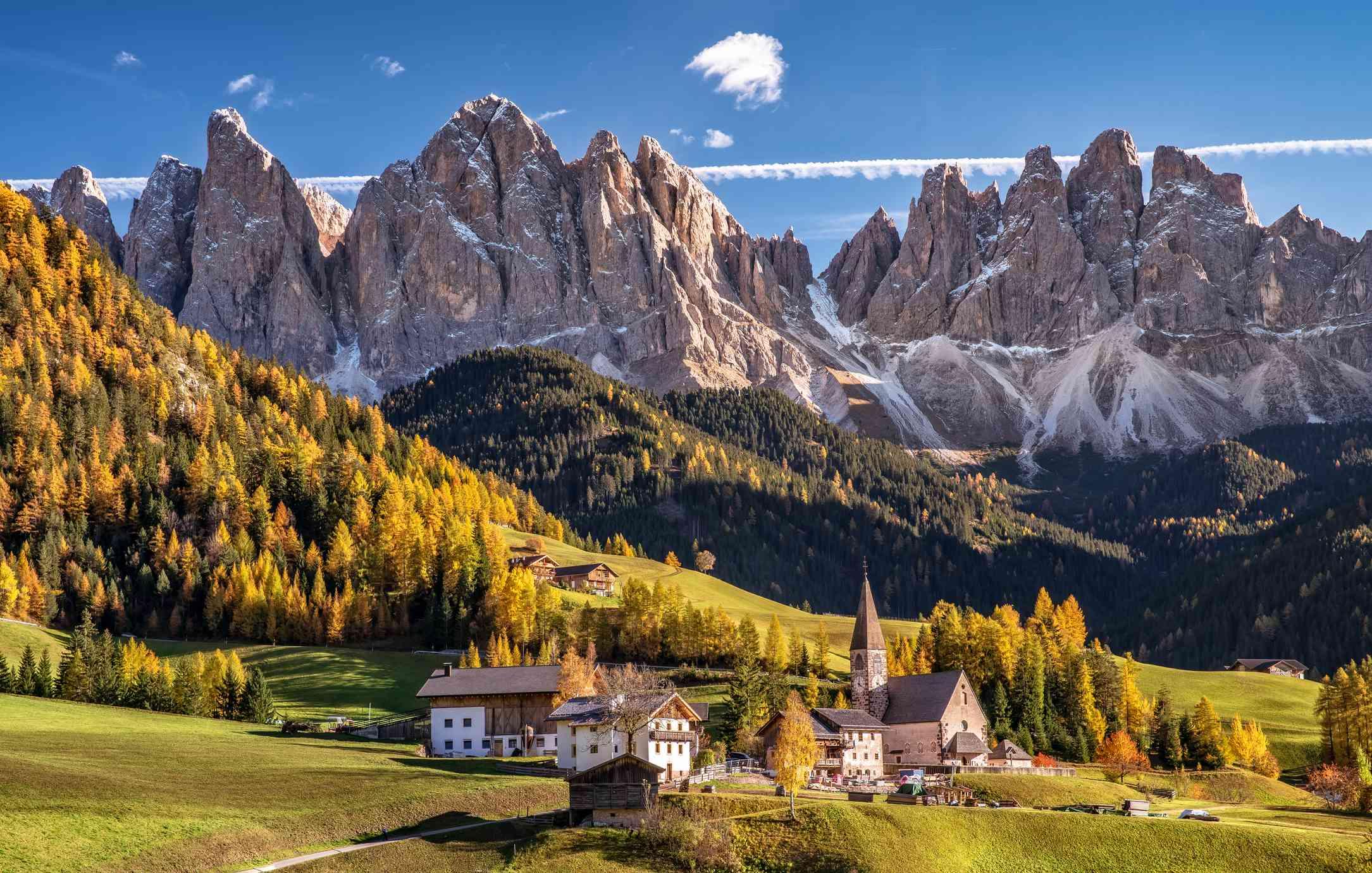 Villnoess St. Magdalena at Val di Funes (Funes Valley), Alto Adige, Italy.