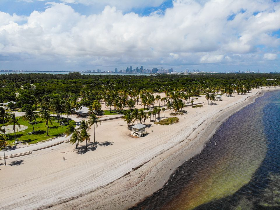 Aerial shot of Crandon Beach Park