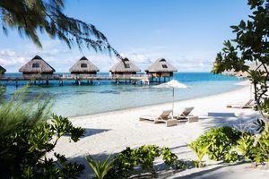 Lounge chairs on the beach in Bora Bora