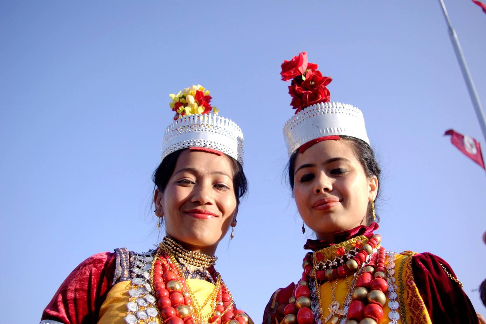 Khasi girls in traditional dress