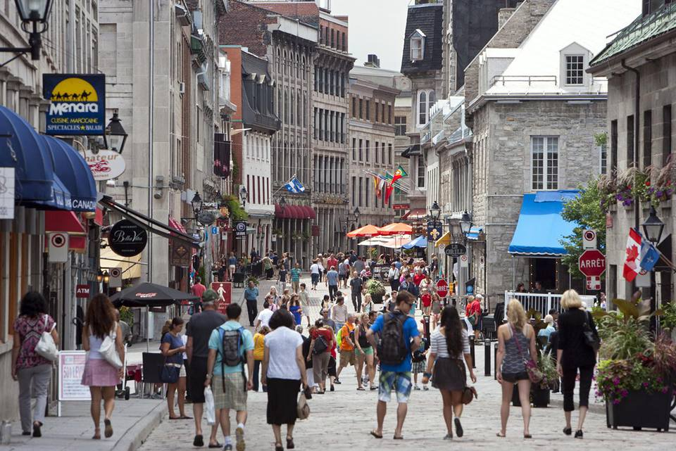 North America, Canada, Quebec, Montreal, Rue Saint Paul E at Place Jacques Cartier
