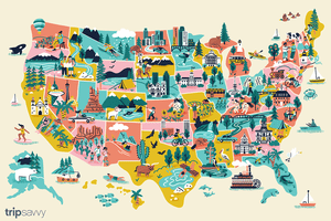 Illustration of all 50 states and attractions from each state