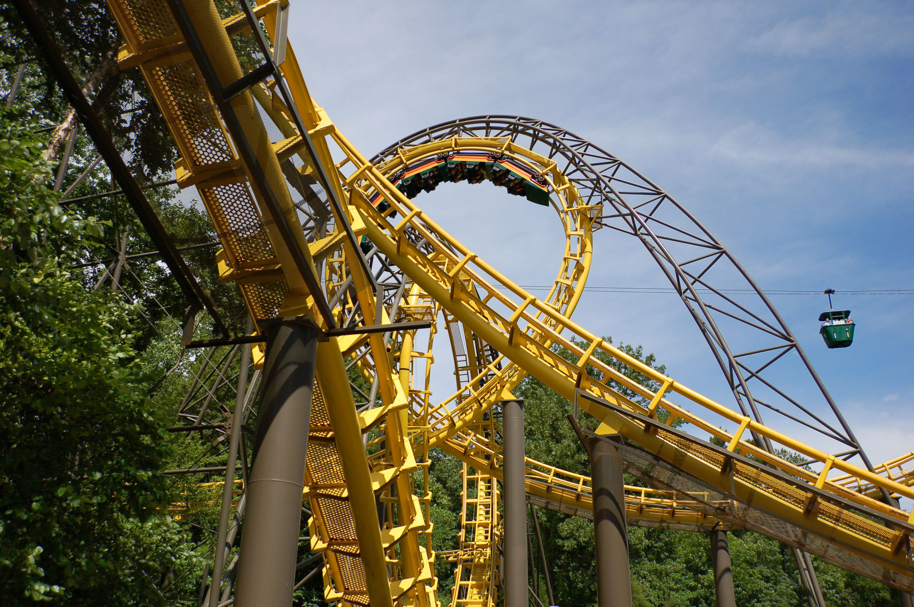 Close up of a roller coaster track
