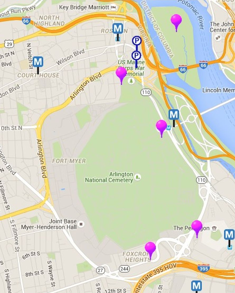 Map of Monuments and Memorials in Washington, D.C.