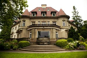 An exterior view of the brown stone Pittock mansion