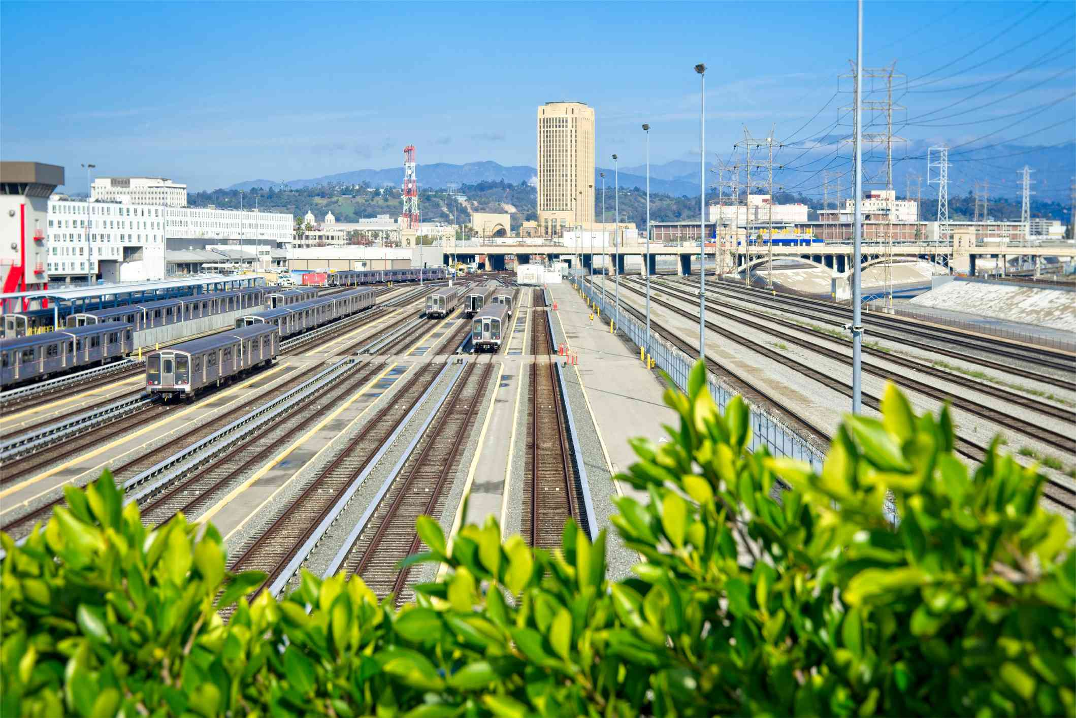 Railroads in perspective near Downtown Los Angeles