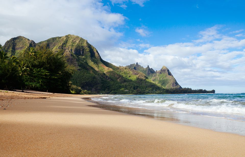 Tunnels beach and bali hai point on the north shore of Kauai, Hawaii, usa. resort destination