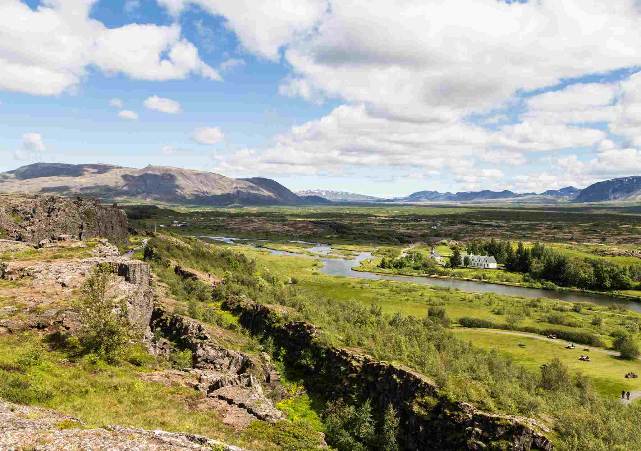 Landscape near the Thingvellir National Park in Iceland, famous for the rift valley resulting from tectonic plates motion. This is one of the many nature attraction of the Golden Circle, a popular day trip from Reykjavik.
