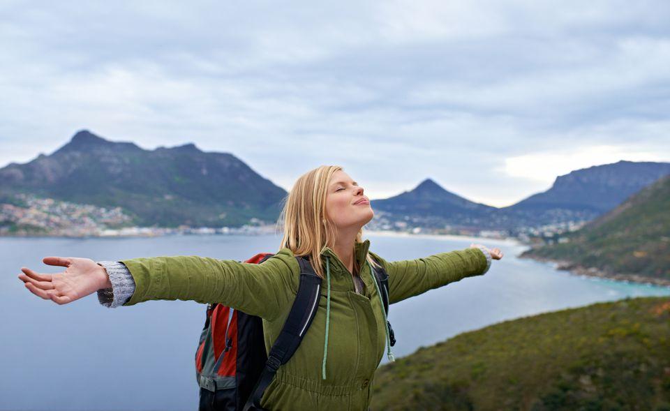 Student enjoying nature