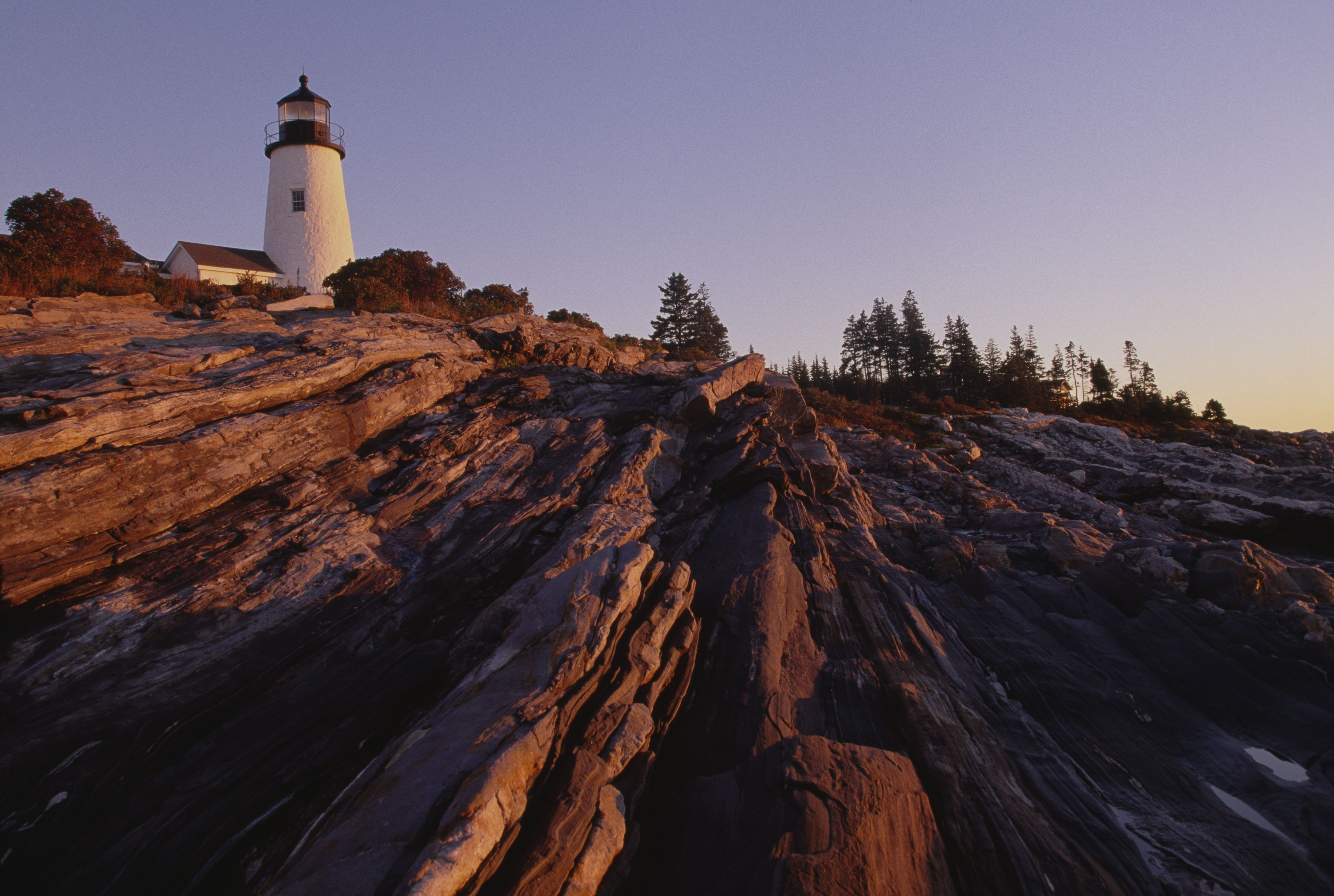 Cliff and lighthouse, Pemaquid Point, Maine