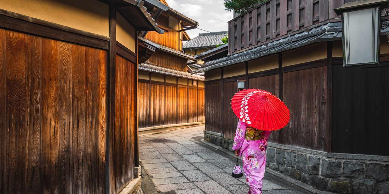 Geisha walking through Kyoto