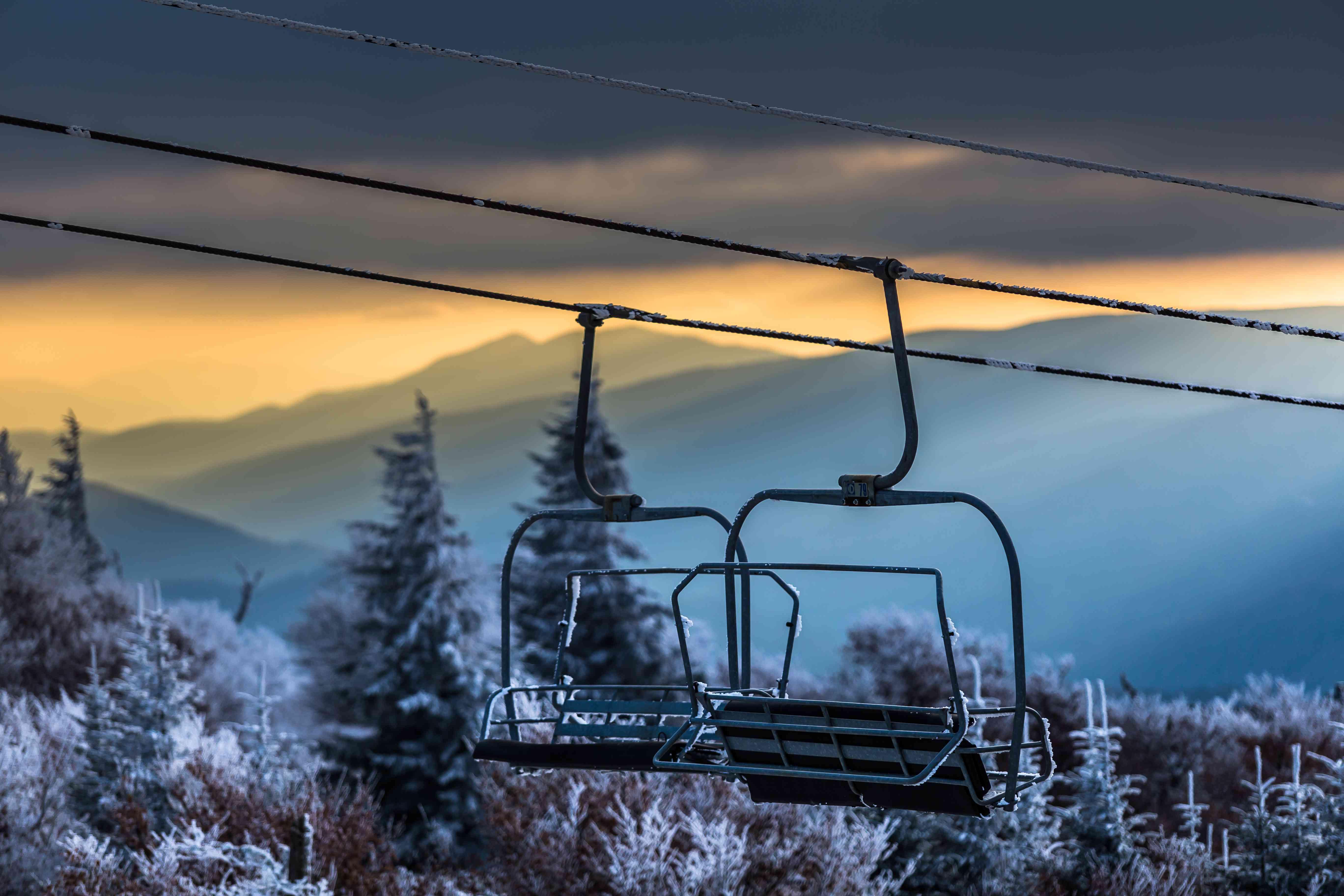 Close-up of chairlifts, Beech Mountain, Avery County, North Carolina, USA