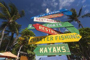Signage at Robbie's Marina, Islamorada, Florida Keys, Florida, USA