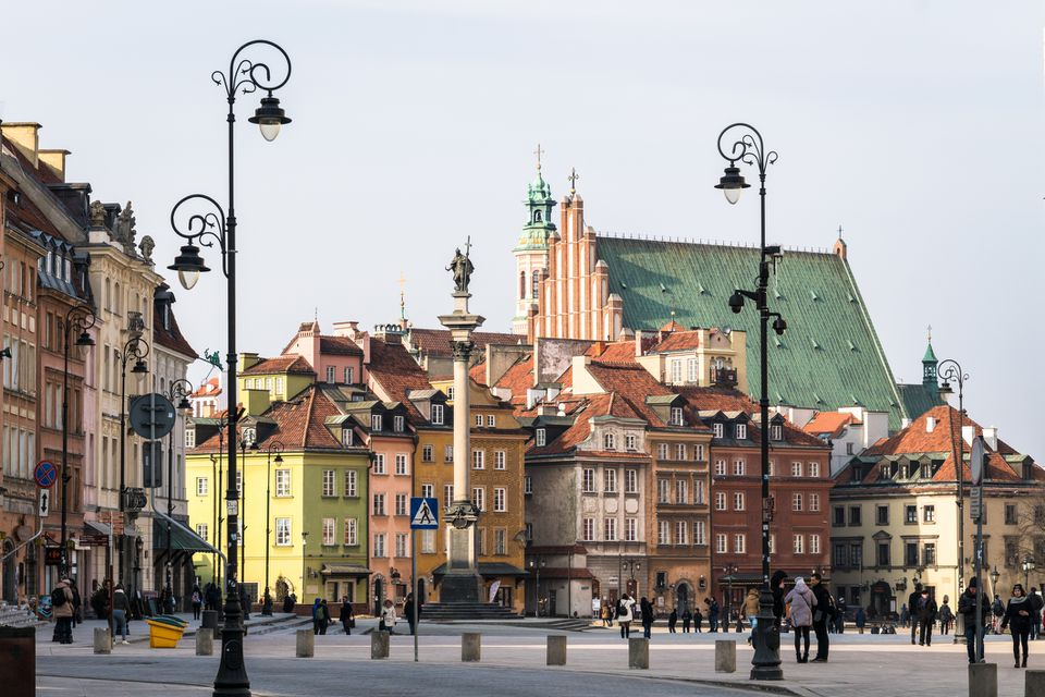 Warsaw old town around the Zamkowy square in Poland capital city