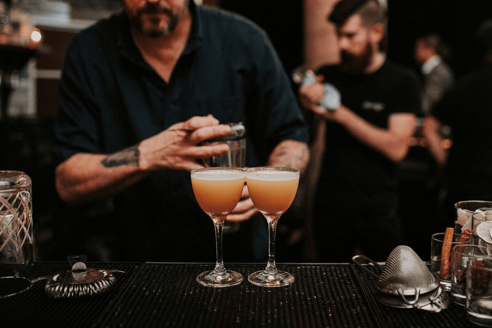 Mixing cocktails at Garage