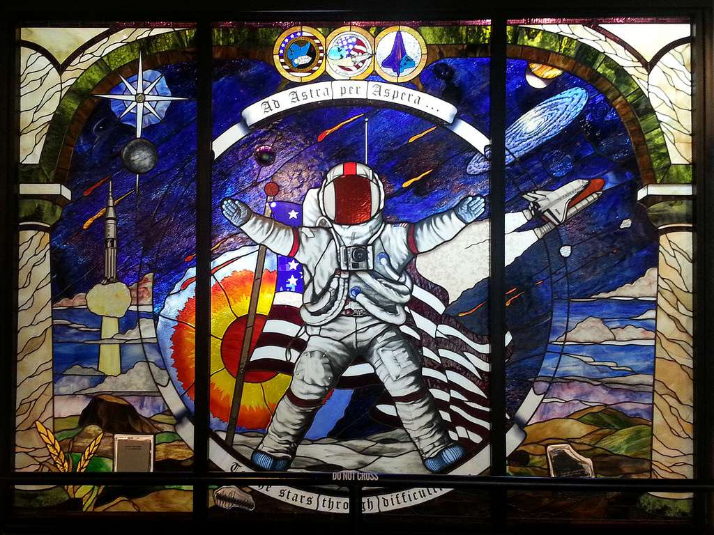 Stained glass at the entrance to the Cosmosphere Space Museum.