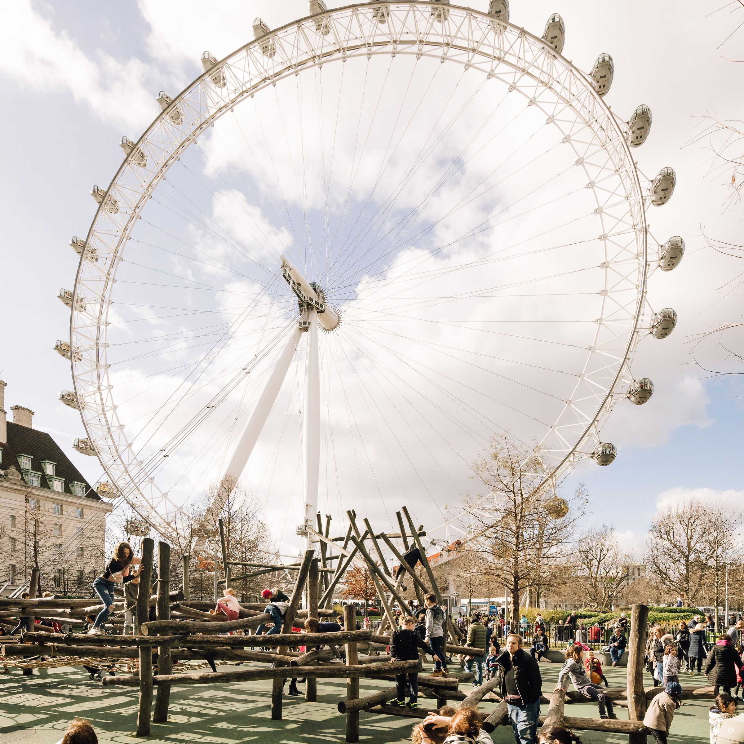 People under the London Eye
