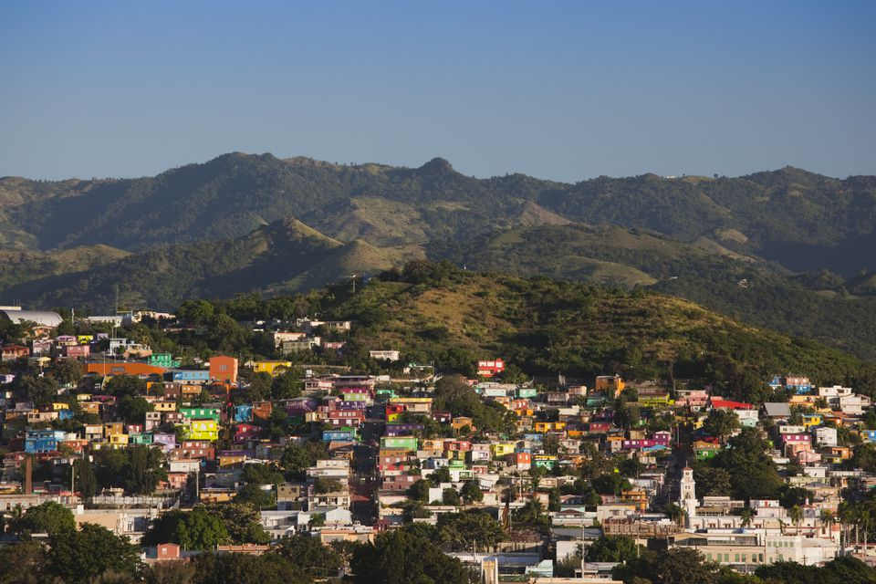 Colorful buildings on a hillside of Yauco, Puerto Rico