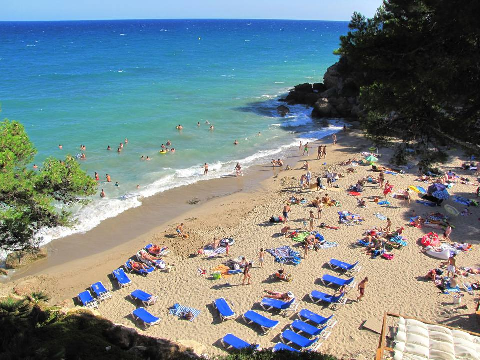 High Angle View Of People At Costa Dorada Beach