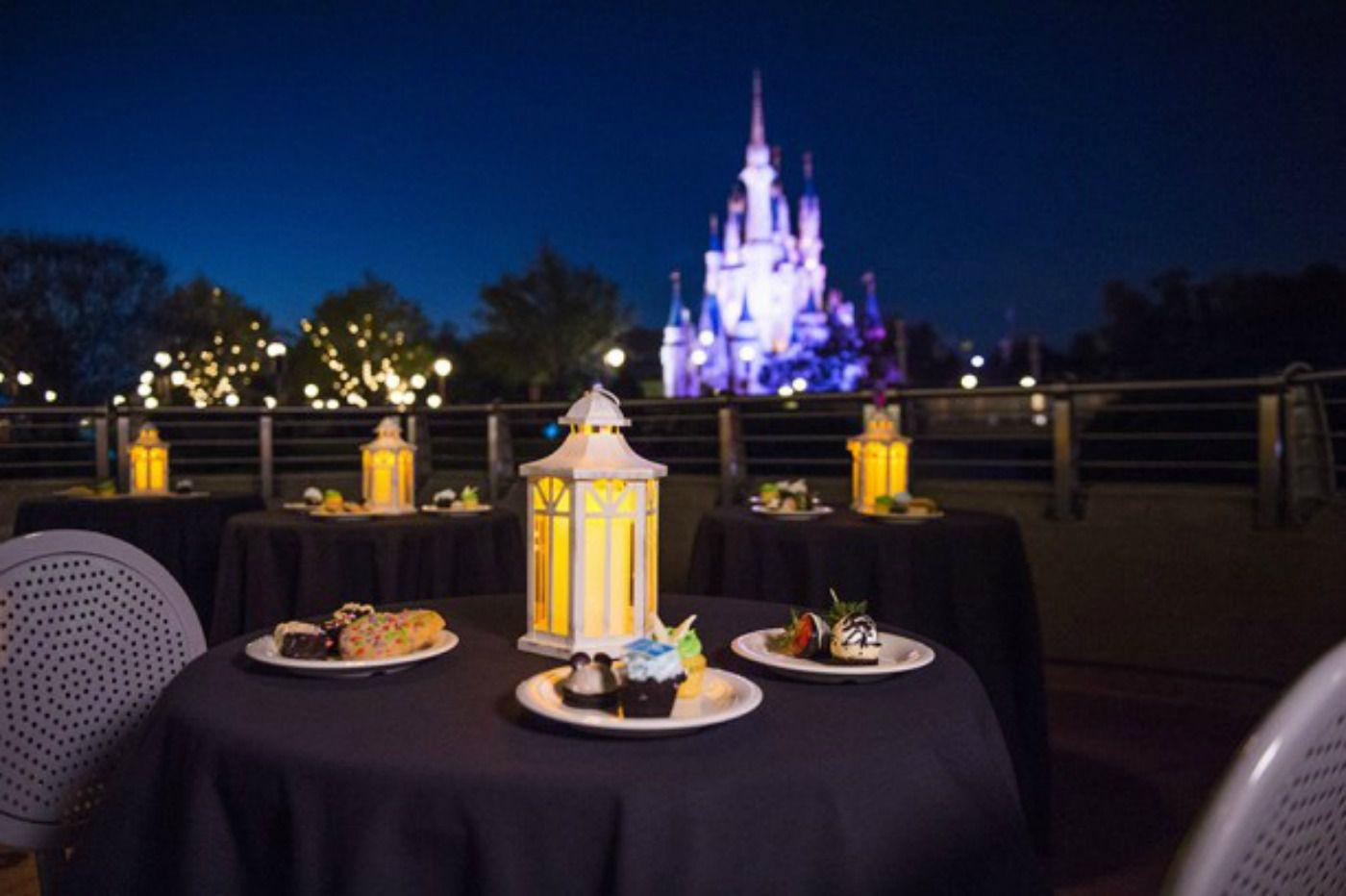 Postre y fuegos artificiales en los parques de Disney