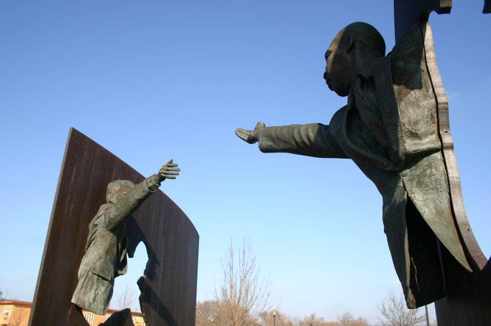 """""""Landmark for Peace"""" sculpture in Dr. Martin Luther King Jr. park in Indianapolis"""