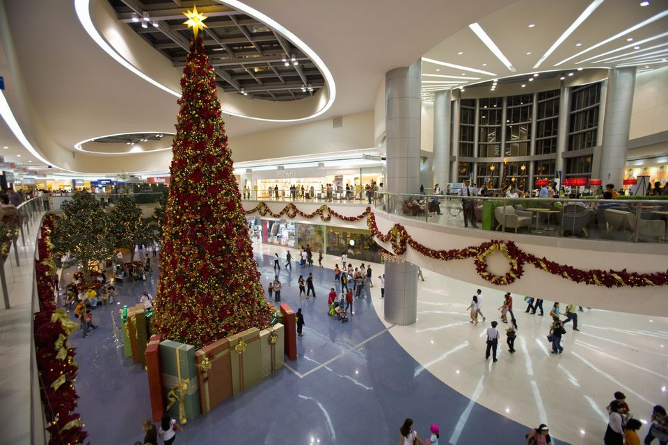 Christmas decorations in a mall in Asia