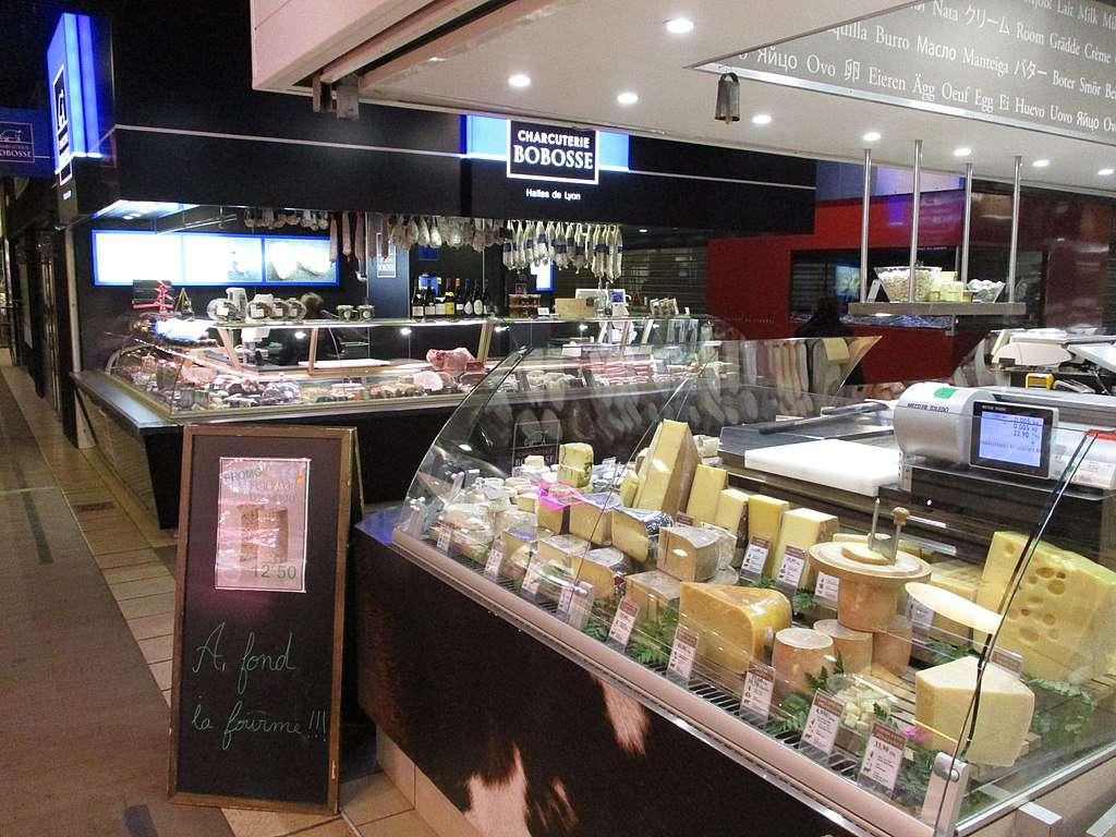 Cheese shop at halles de Lyon Paul Bocuse, France