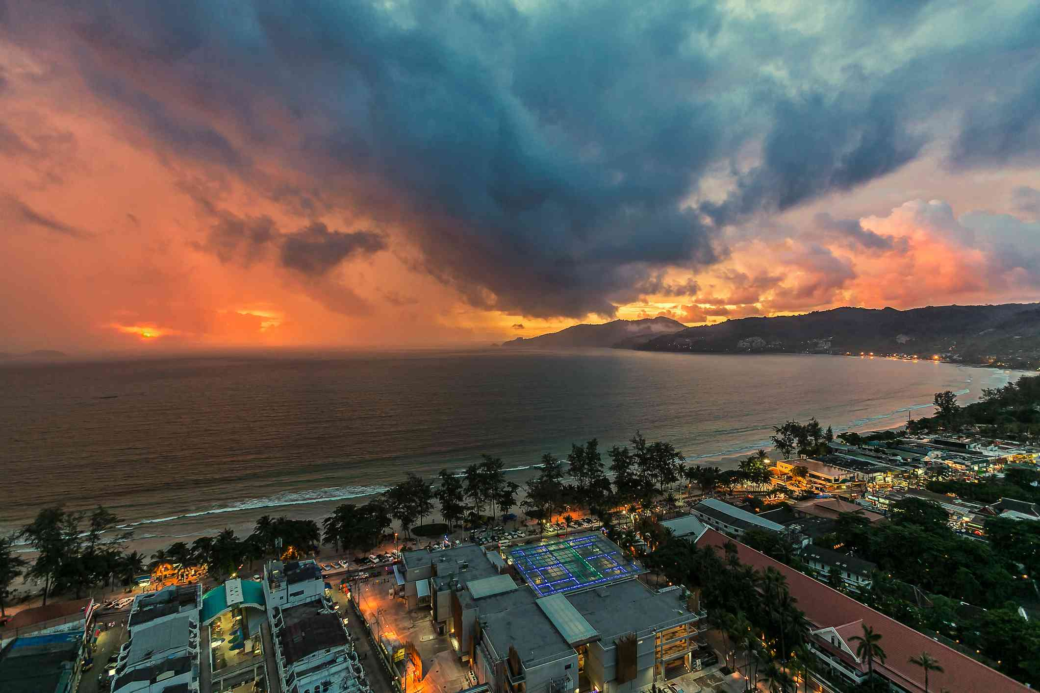 Sunset off Patong Beach, Phuket, on eve of rainy day