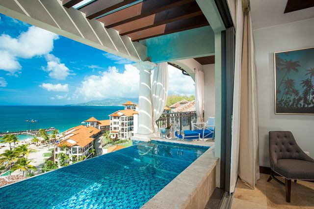 d7eb586e6 Room view of the ocean and a private terrace pool at Sandals LaSource