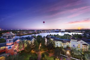 Aerial View of Downtown Disneyworld from Saratoga Springs Hotel
