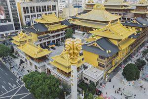 Aerial View Of Shanghai Jingan Temple At Dusk
