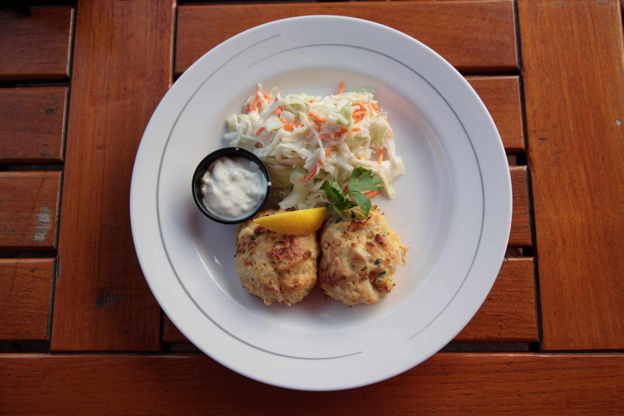 Typical Maryland Crab Cakes, from a famous restaurant at inner harbour, in Baltimore