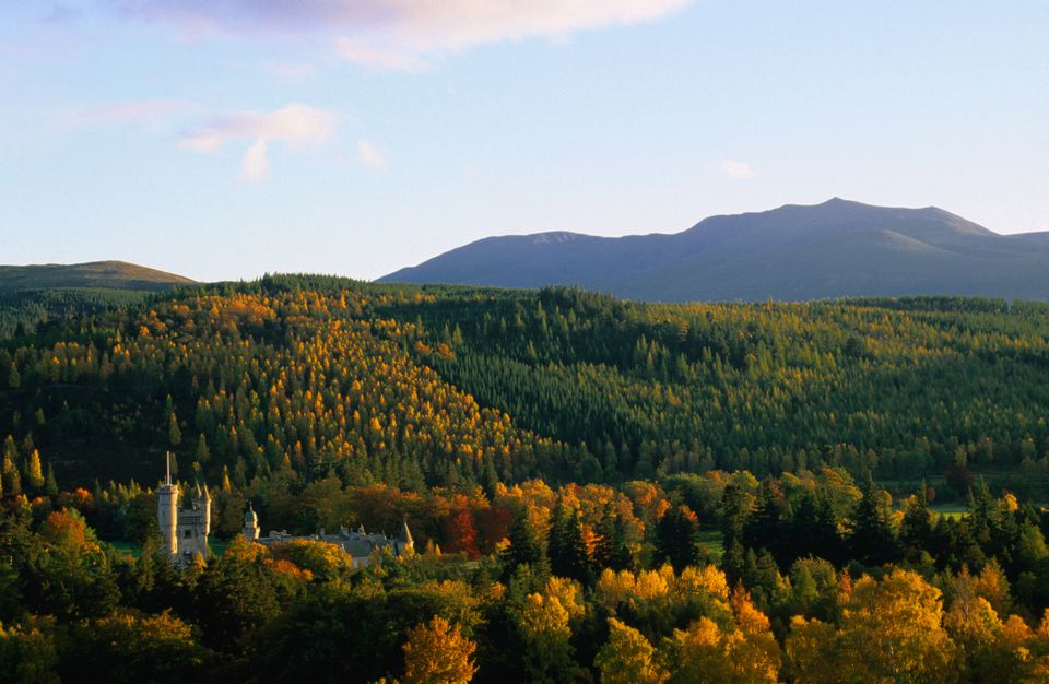 Lochnagar towers over Deeside and Balmoral Castle (lower left).