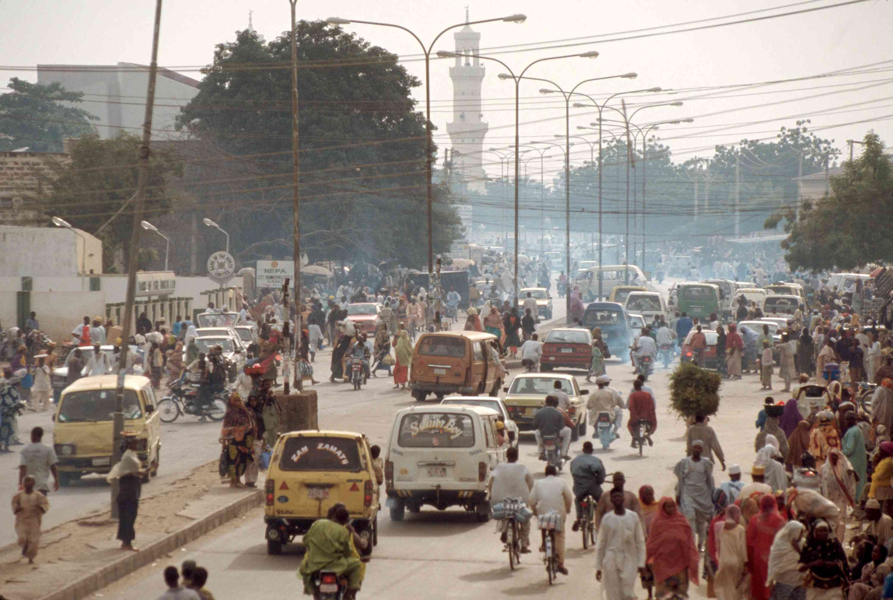 traffic is seen in the streets of the old city of Kano,