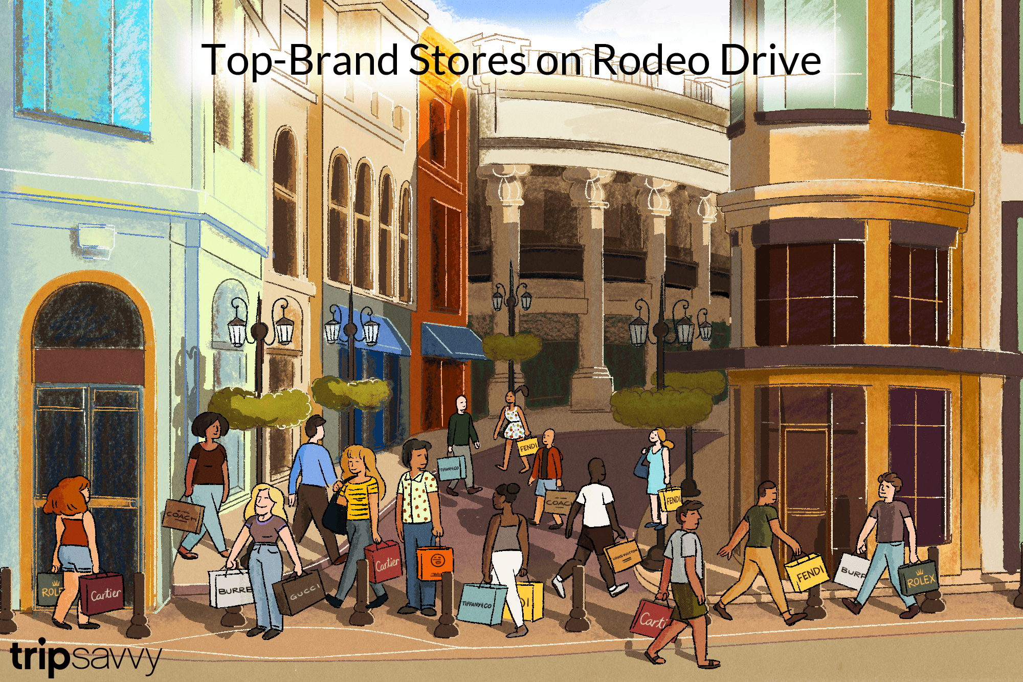 an illustration of people shopping on Rodeo Drive and carrying bags with the brand names
