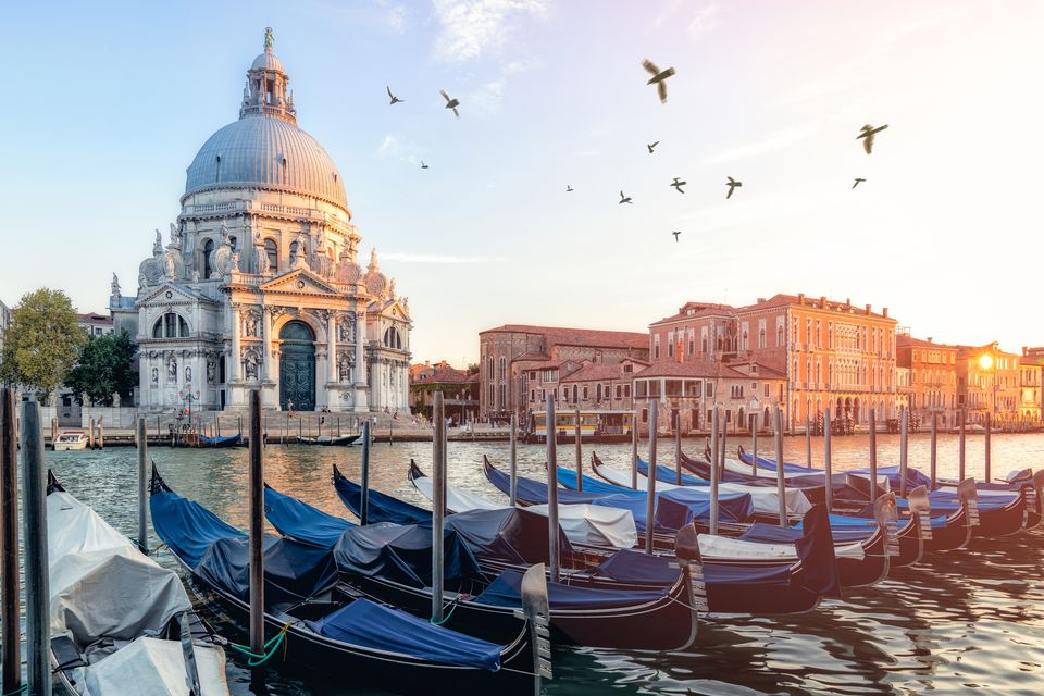 River side view of Santa Maria Della salute Church in Venice
