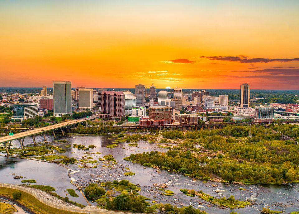 Aerial view of a the Richmond virginia skyline at sunset