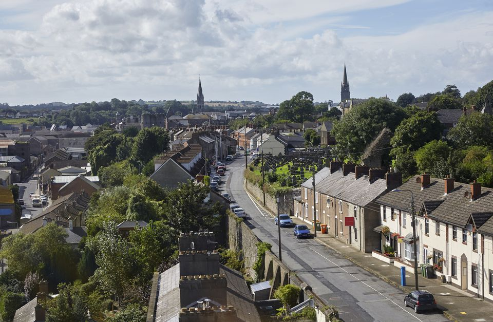 Elevated view of the cityscape of Drogheda, Ireland