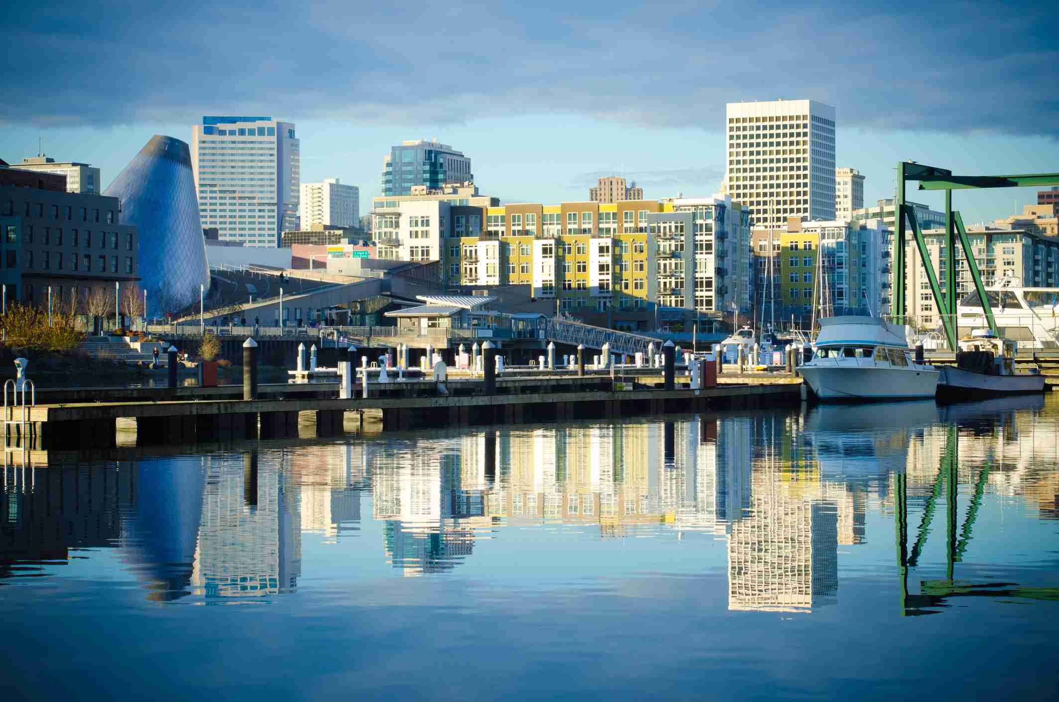 Foss Waterway with buildings and skyline in Tacoma, Washington