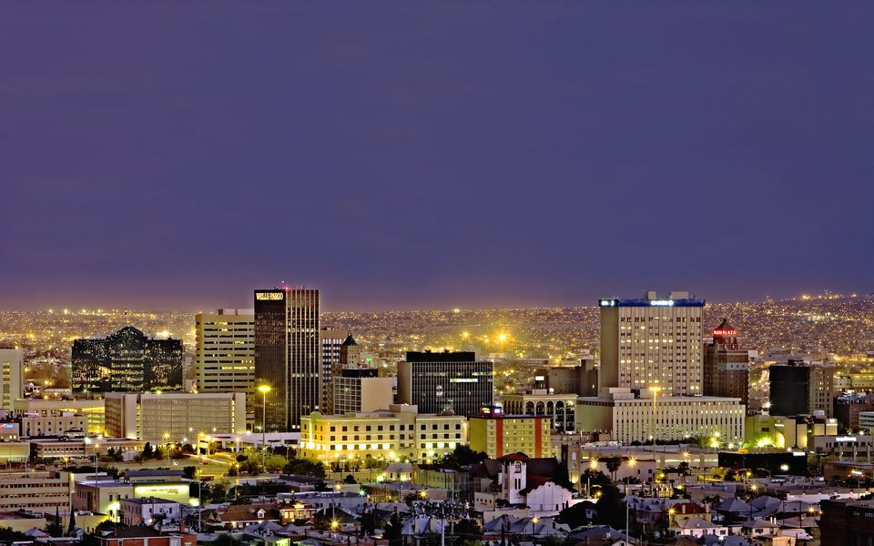 Nighttime View Of El Paso Texas With Many Lights And Buildings