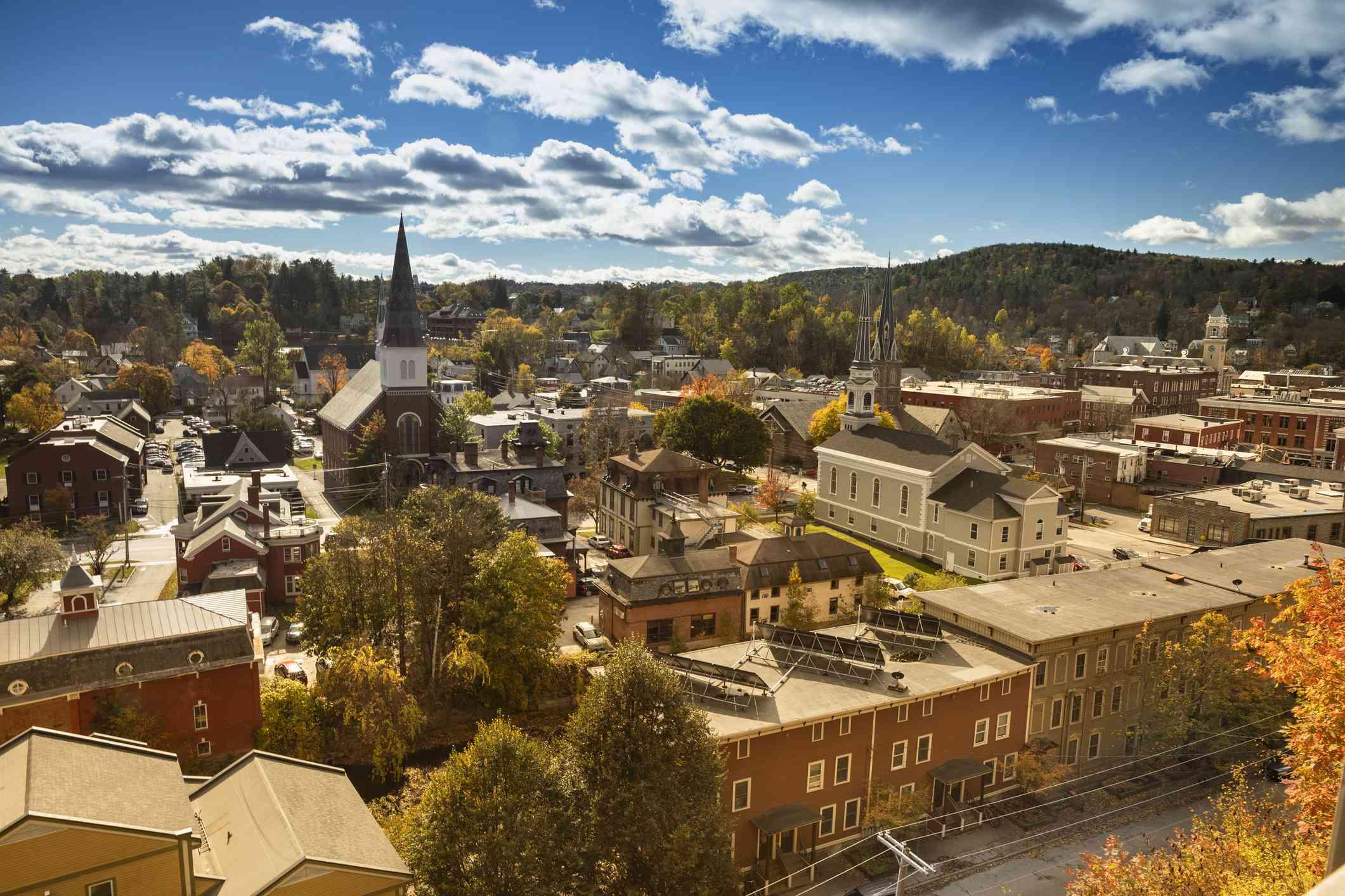 Downtown Montpelier, Vermont Skyline in Autumn