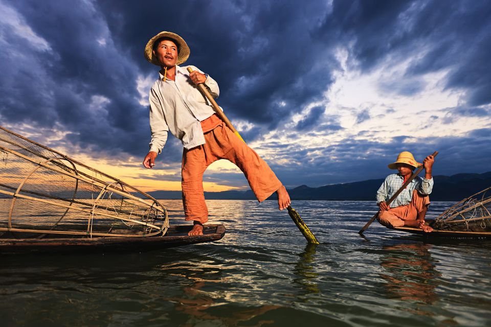 Leg-rowers on Inle Lake in Myanmar