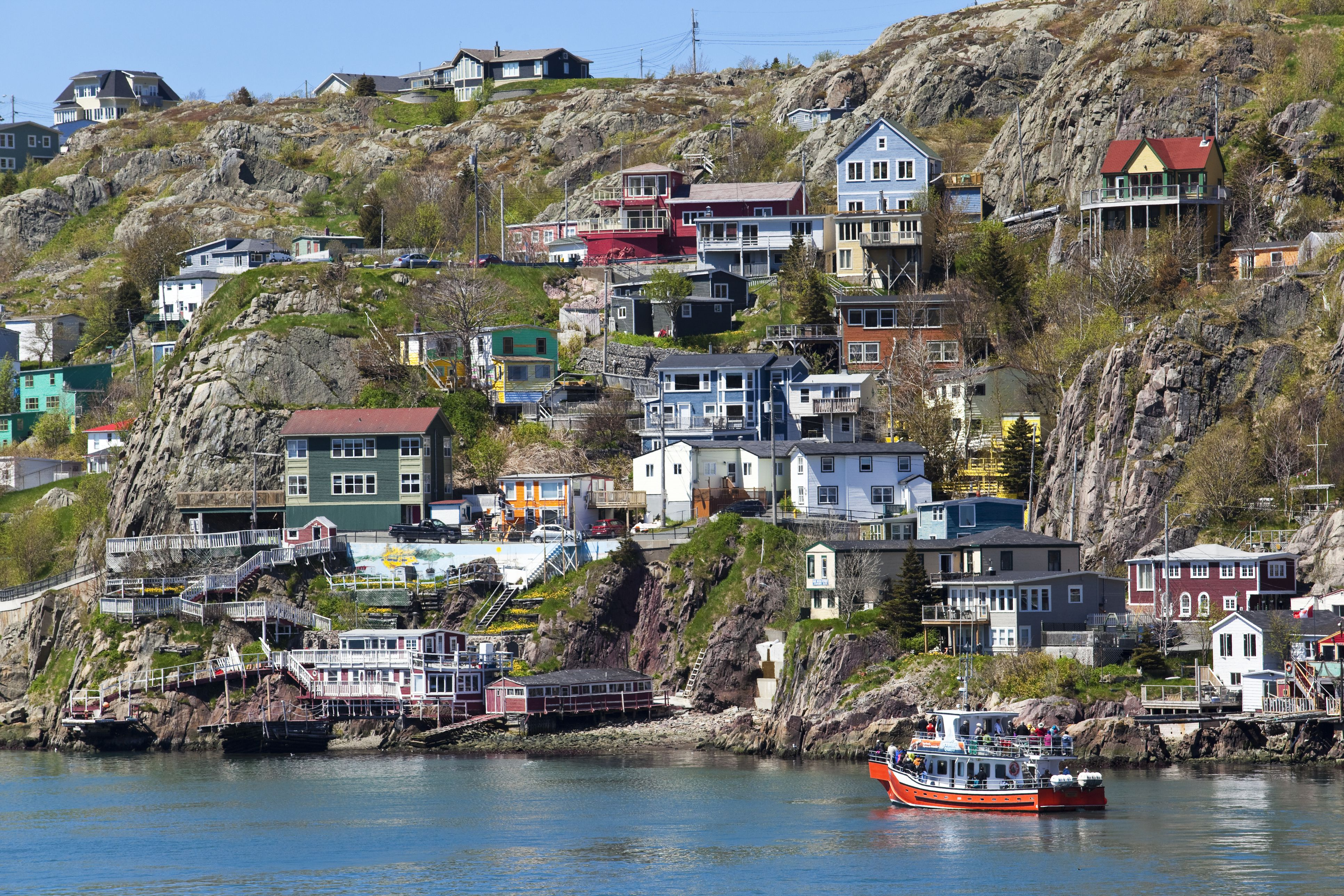 The Battery is a small neighbourhood at the entrance to St. Johns harbour that is noted for its colourful houses built at the base of Signal Hill.