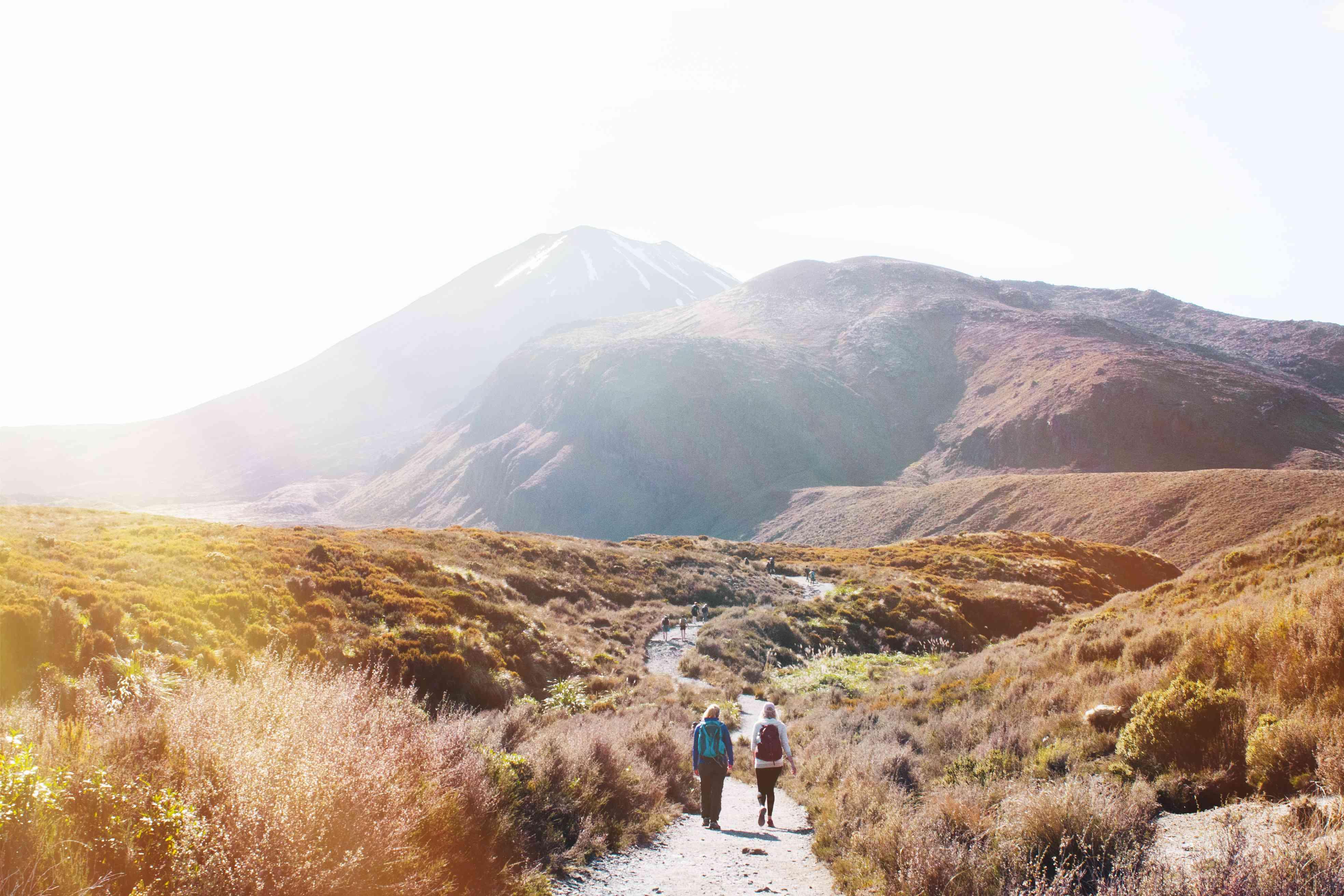 People walking down the path to Tongariro