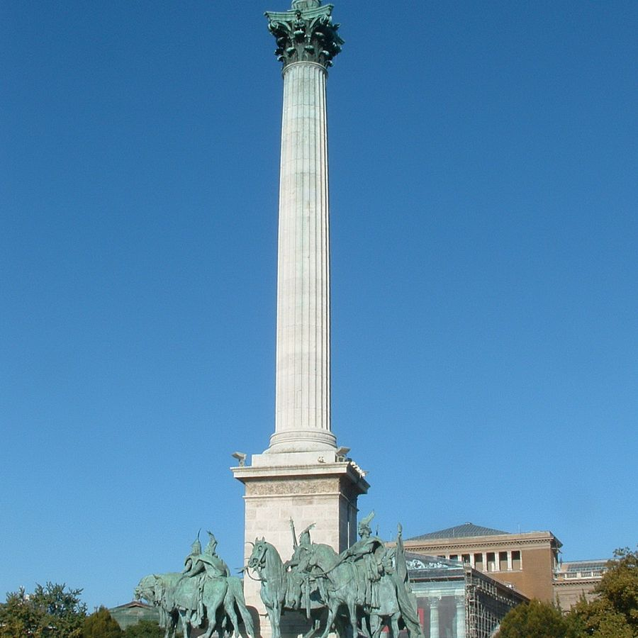 Corinthian Column in the Millennium Monument at Heroes' Square in Budapest