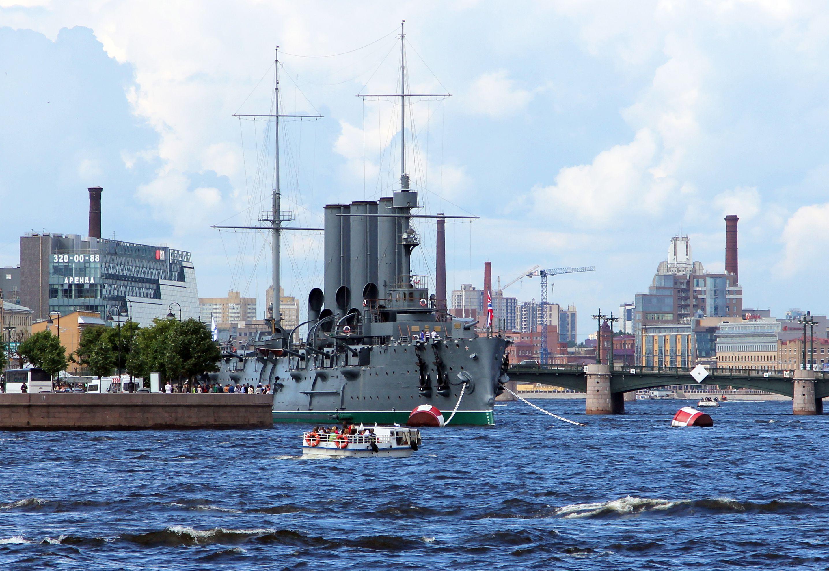 Russian cruiser Aurora on the Neva river