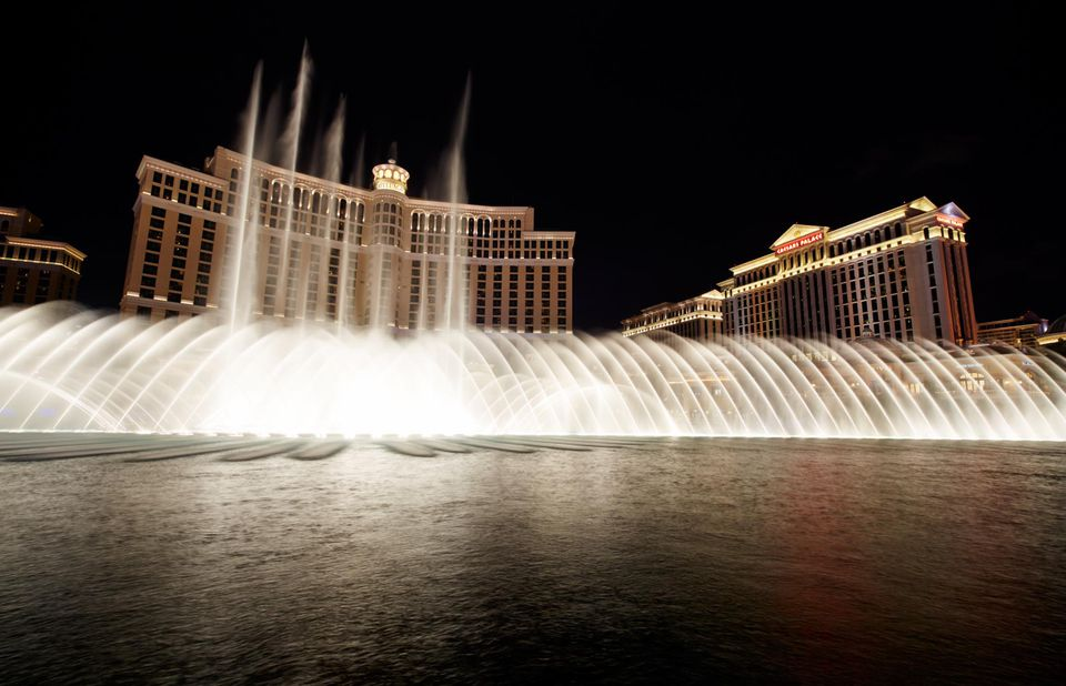 The Fountains of Bellagio is a vast, choreographed water feature with performances set to light and music.